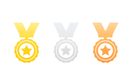 medals, gold, silver and bronze, icons on white