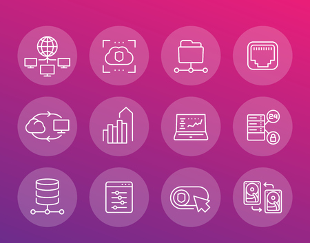 Servers, networks, cloud solutions, data storage and hosting line icons set