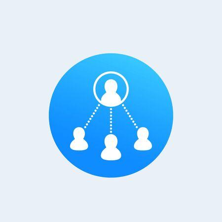 Icône de travail de délégation dans l'illustration de citcle bleu.