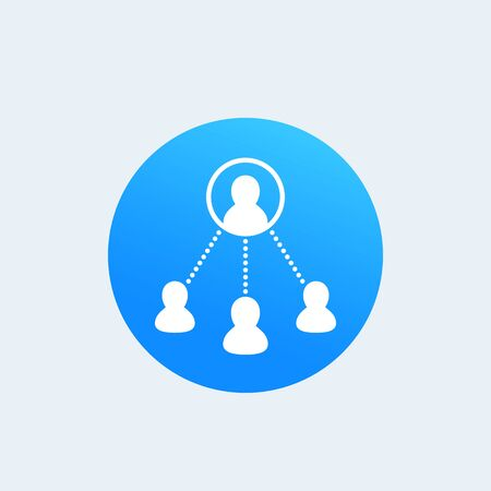 Delegation work icon in blue citcle illustration.