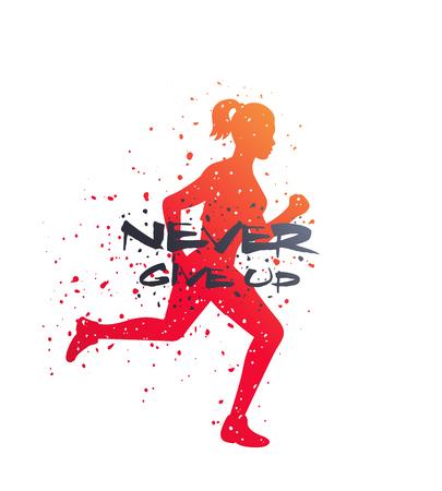 Running motivational poster, never give up, vector t-shirt print Illustration