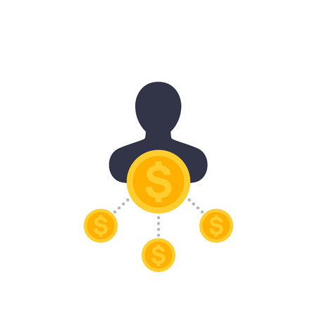 Shareholder icon in flat style vector illustration.