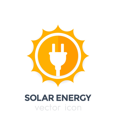 Solar energy vector logo, icon Иллюстрация