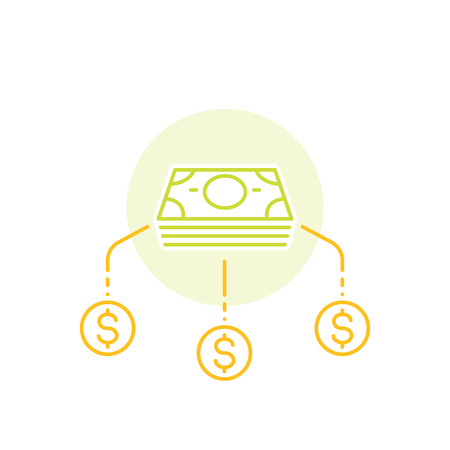 Financial diversification, money split, investments vector line icon.