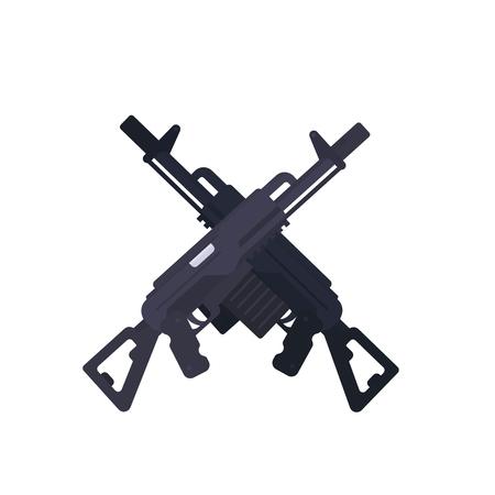 Assault rifles, crossed guns in flat style illustration.
