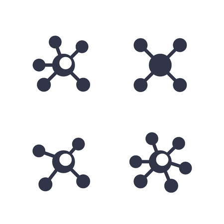 Connections icons isolated on white. Vector illustration.