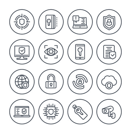 Security and protection line icons set on white, secure browsing, cyber-security, data protection, privacy