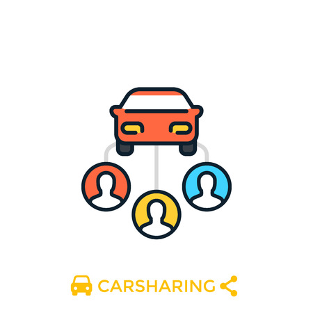 carsharing icon on white, Vector illustration.