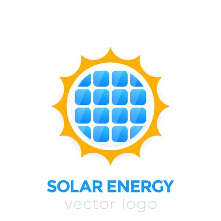 Logo wektor energii słonecznej, słońce i panel słoneczny Logo