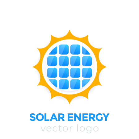 Solar energy vector logo, sun and solar panel