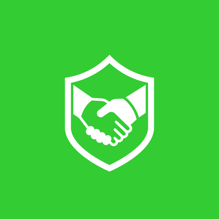 safe deal, partnership, trust icon with handshake Vector illustration. Ilustrace