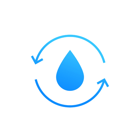 Water recycling icon on white. Vector illustration.