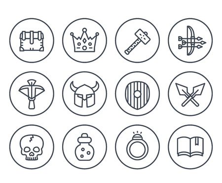 Game line icons on white set vector illustration.