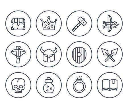 Game line icons on white set vector illustration.