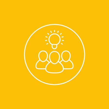Idea, insight, brainstorm vector icon in circle.