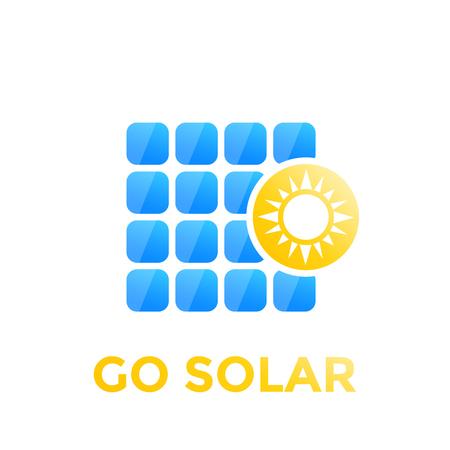 Solar panel icon, vector icon on white background.