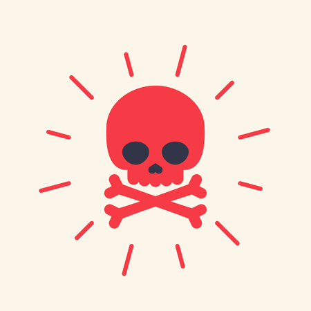 danger icon with skull Vector illustration.
