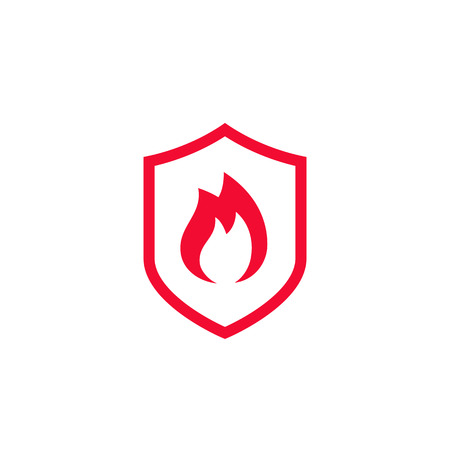 Fire protection icon illustration on white background.
