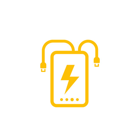 power bank vector icon on white