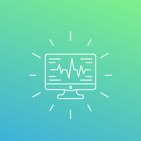 ecg, heart diagnostics icon, linear style Vector illustration. Illustration