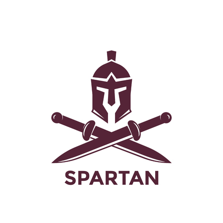Spartan vector logo template with helmet and swords Illustration