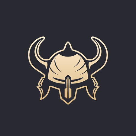 Helmet with horns on black background, vector illustration.
