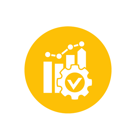 Productivity growth icon in yellow circle illustration. Stock Illustratie