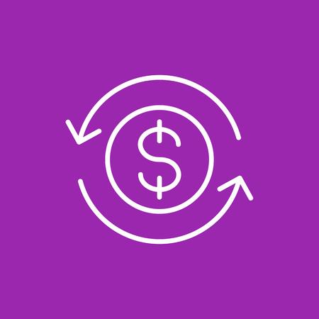 Money transfer, convert icon, linear illustration. Illustration