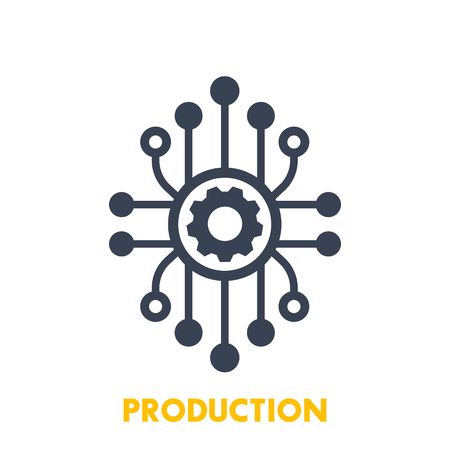 Production vector icon on white background.