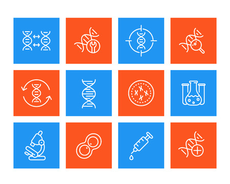 Genetics, dna modification, replication, genetic research line icons set.