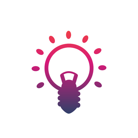 Shining light bulb vector icon on white background.