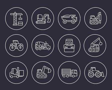 Construction vehicles line icons set illustration.