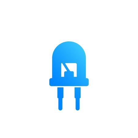 Light emitting diode, led icon illustration.