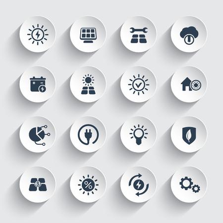 Energia słoneczna, zestaw ikon energetycznych alternatywnych zasilanych słońcem.