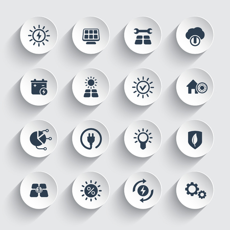 Solar energy, sun powered alternative energetic icons set.
