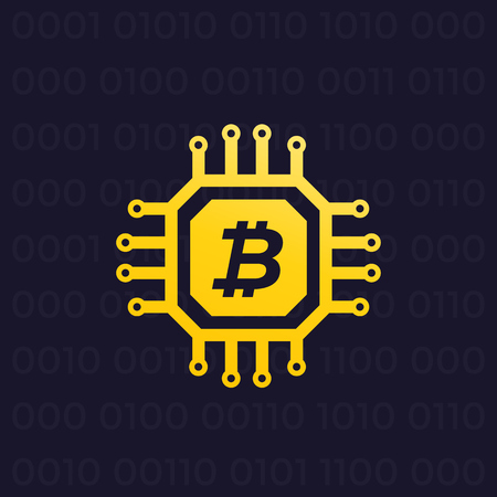 Bitcoin, cryptocurrency and block chain illustration. Illustration