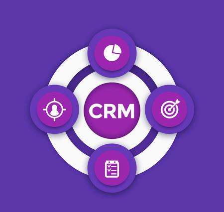 CRM, customer relationship management info-graphics illustration. Vettoriali