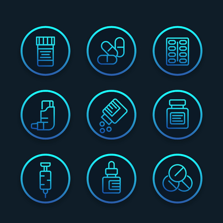 Medicaments, pharmaceutics, drugs line icons illustration. Illustration