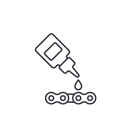 潤滑剤、自転車チェーンベクトル線形アイコンイラスト用オイル。