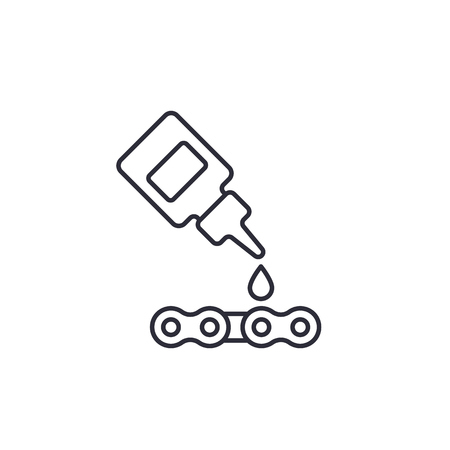 Lubricant, oil for bike chain vector linear icon illustration.