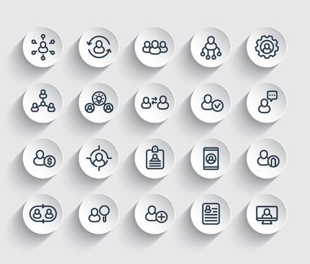 Gestion des ressources humaines et du personnel, RH, rotation du personnel, coaching, ensemble d'icônes de ligne d'embauche.