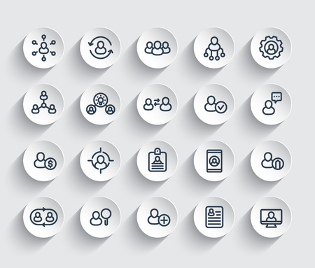 Human resources and personnel management, HR, staff rotation, coaching, hiring line icons set. Vettoriali
