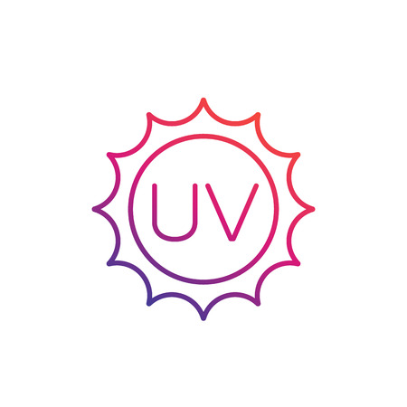 UV radiation, ultraviolet icon, linear illustration.