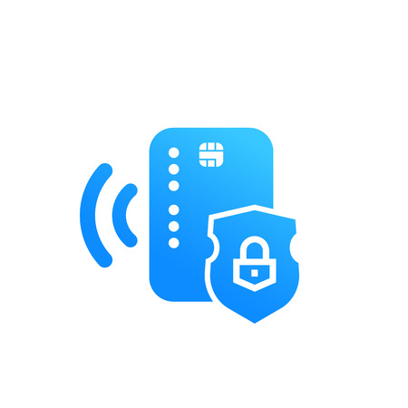 Contact less credit card, secure payment icon illustration.