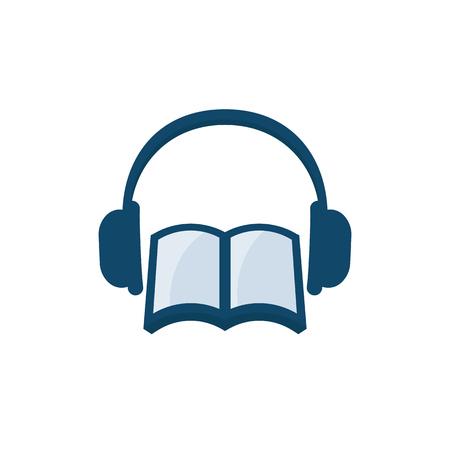 Audio book vector icon on white background.