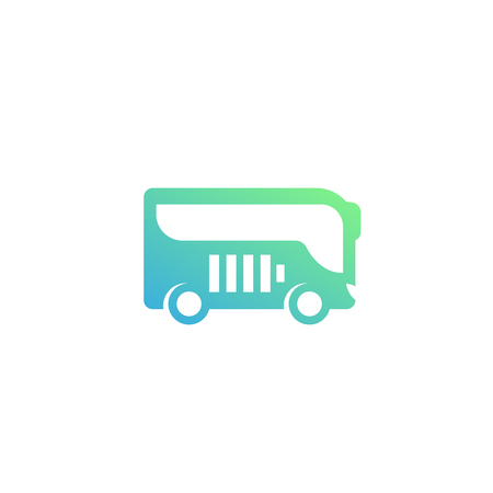 Electric bus vector icon illustration. Çizim