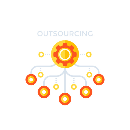 Outsourcing, production process illustration.