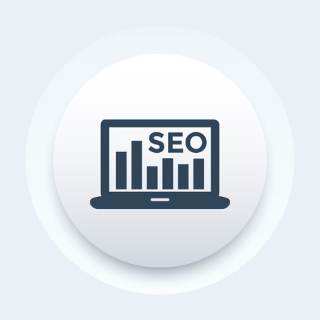 Seo icon with laptop and graph vector illustration. Banque d'images - 100404837
