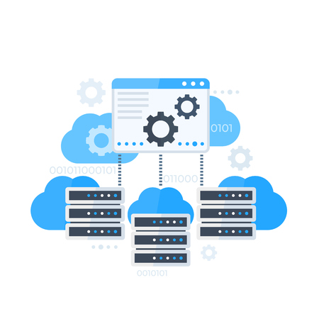 Server control panel, hosting software vector illustration Stock Illustratie