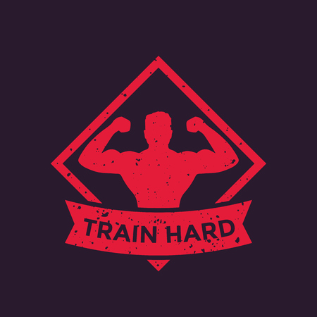 gym training, train hard poster Vectores